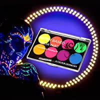 FANICEA UV Glow Black Light Neon Body Paint Set Professional Fluorescent Water Soluble Face Paint Makeup Kit with 10…