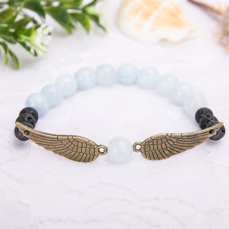 Bivei Guardian Angel's Wing Lava Rock Stone Essential Oil Diffuser Bracelet - Semi Precious Gemstone Beads Healing Crystal Bracelet Gift anbivi11121925