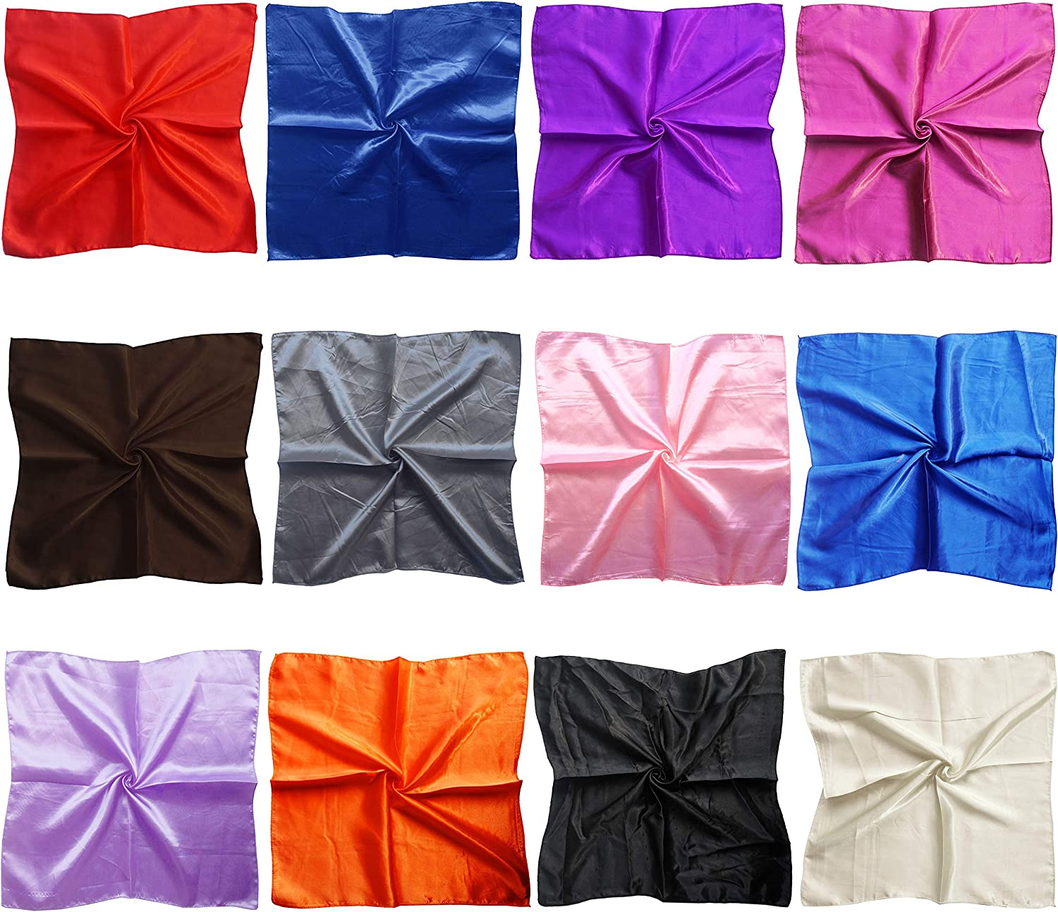 LilMents 12 Mixed Designs Small Square Satin Womens Neck Head Scarf Scarves Bundle Lot Set (Set B) at  Women's Clothing store