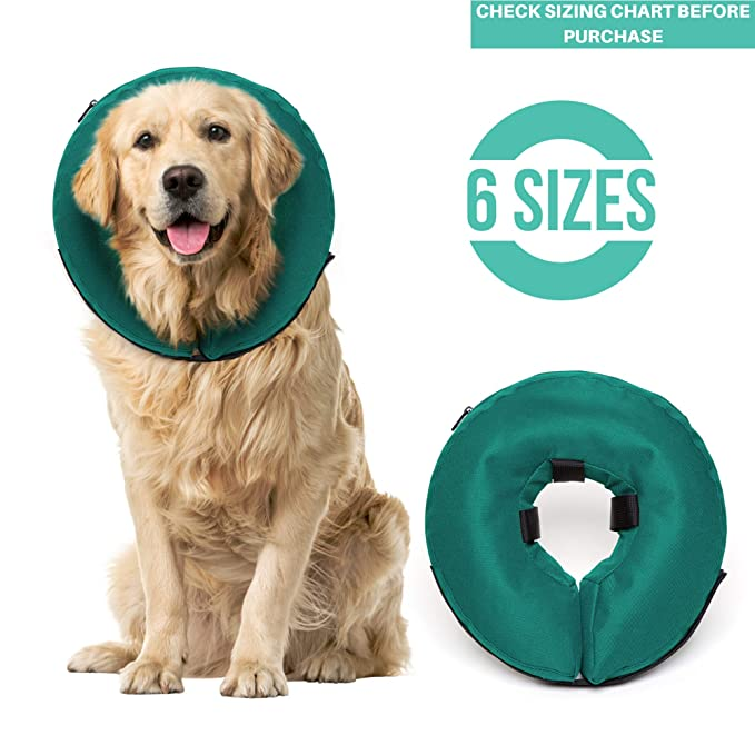 ProCollar Protective Inflatable Recovery Collar for Dogs and Cats - Soft Pet Cone Does Not Block Vision E-Collar - Designed to Prevent Pets from Touching Stitches, Wounds and Rashes (Large) best inflatable pet collar