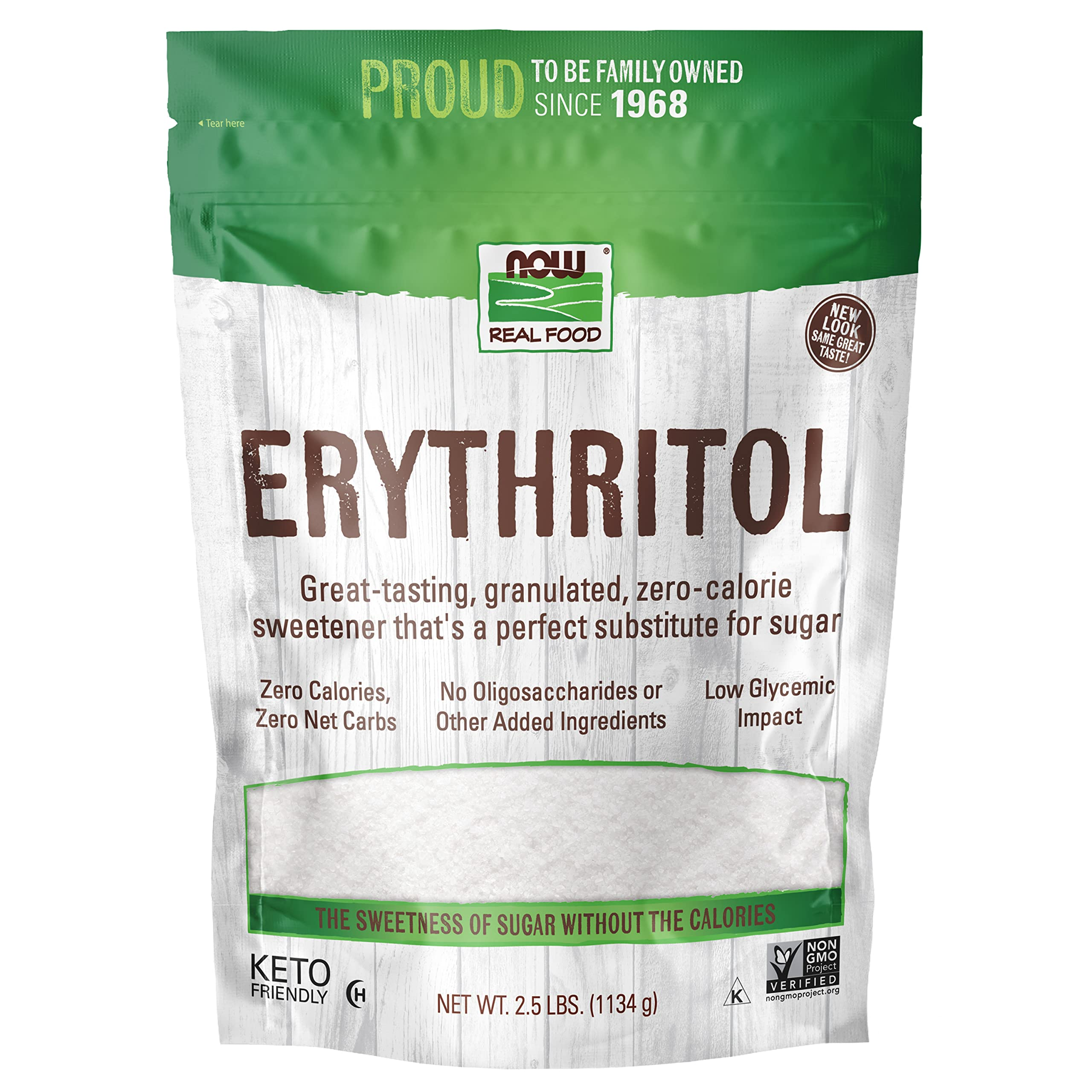 Now Foods Erythritol, Great-Tasting Substitute for Sugar, Zero Calories, Low Glycemic Impact, 2.5-Pound, 40 Ounce (Pack of 1)