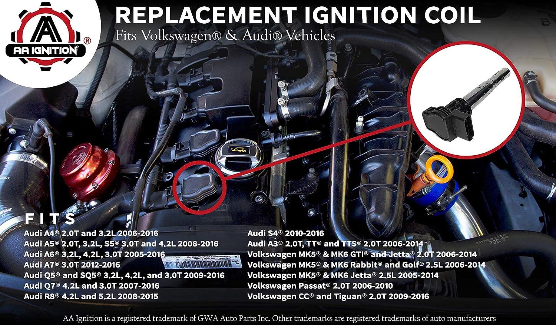 Bobina de encendido pack - sustituye a # 07 K905715 F Volkswagen y Audi vehículos: Amazon.es: Coche y moto
