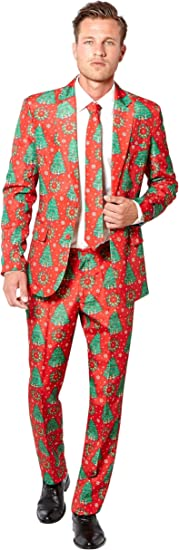 con stampe diverse Suitmeister Completo natalizio da uomo con giacca pantaloni e cravatta