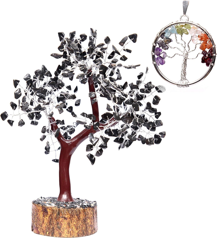 KACHVI Crystals Healing Black Tourmaline Gemstone Money Tree (Regalo Colgante del árbol de la Vida) Feng Shui Bonsai Silver Wire Size 10-12 Pulgadas