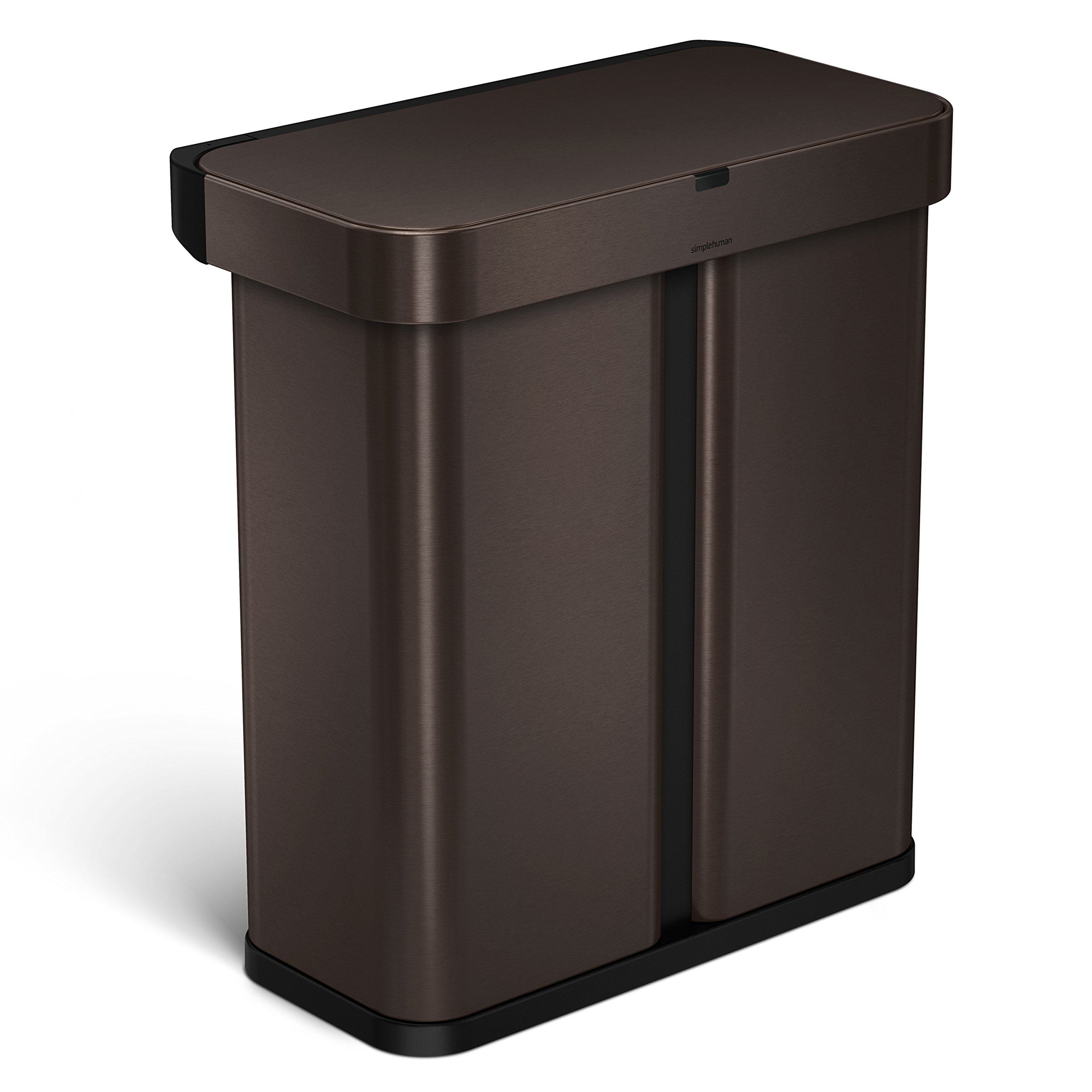 simplehuman 58L  Dual Compartment Rectangular Sensor Trash Can with Voice and Motion Sensor, Touch-Free, Voice Activated, Dark Bronze Stainless Steel, 58 Liters / 15.3 Gallons