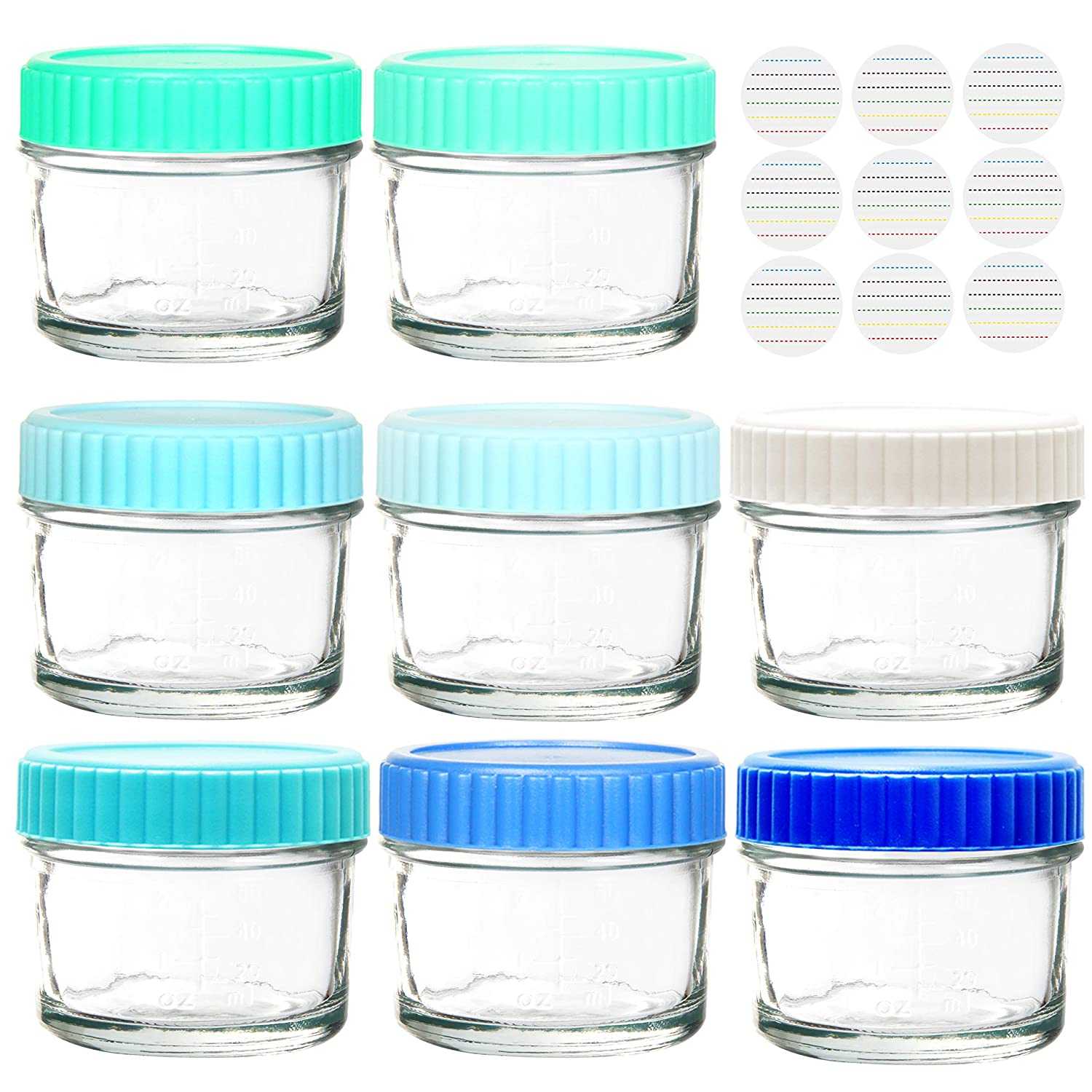 Youngever Glass Baby Food Storage, 4 Ounce Stackable Baby Food Glass Containers with Airtight Lids, Glass Jars with Lids, 8 Coastal Colors (8 Pack)