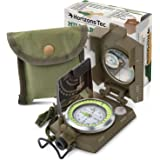 Horizons Tec Military Floating Compass Kit | Waterproof Zinc Alloy Body, Luminous Compass With Clinometer, Thumb Ring & Lensatic Side View | For Camping, Hunting, Hiking, Backpacking, Boating & More
