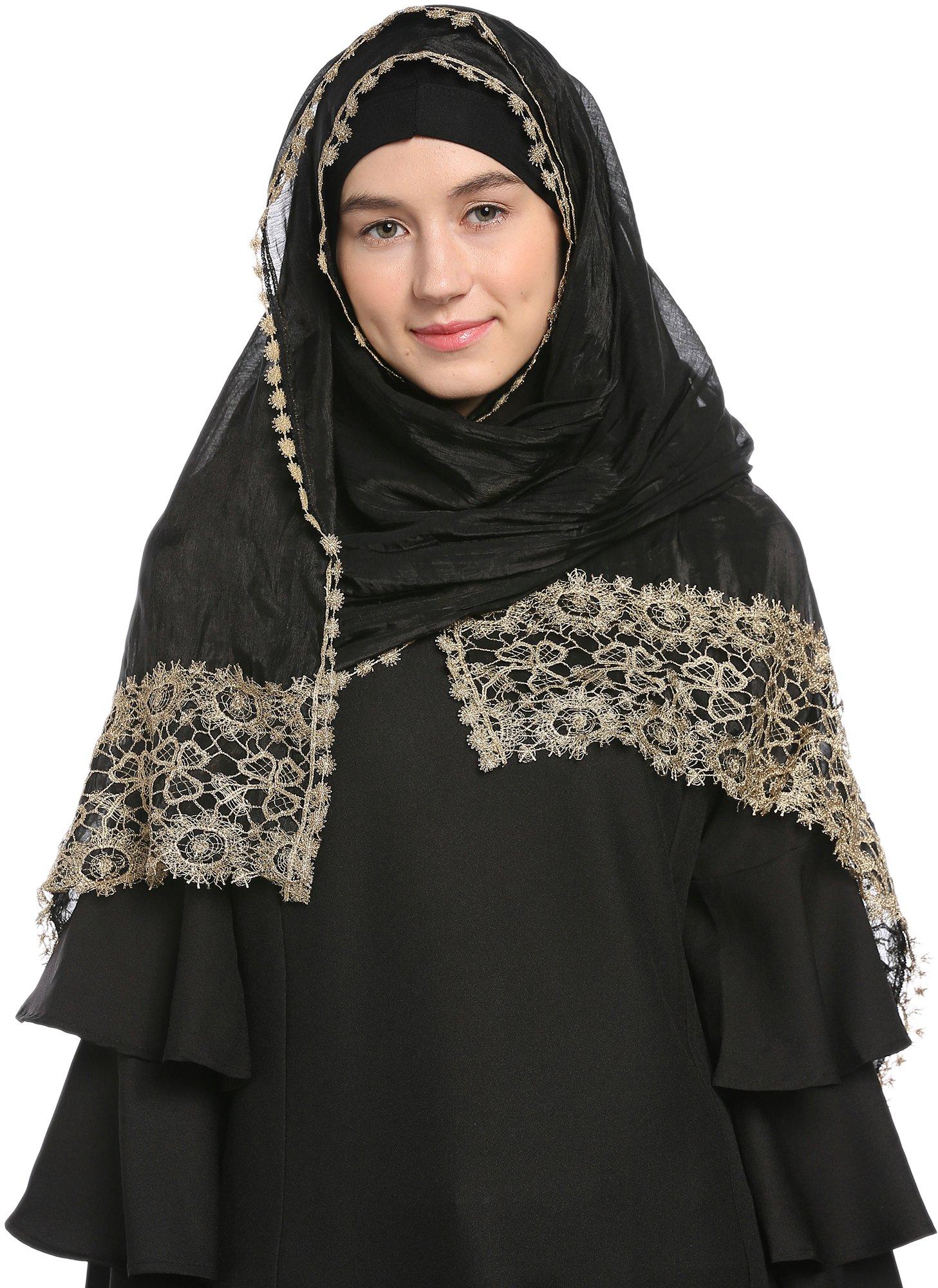 Ababalaya Lace Decorated Wedding Hijab Islamic Hijab, Black