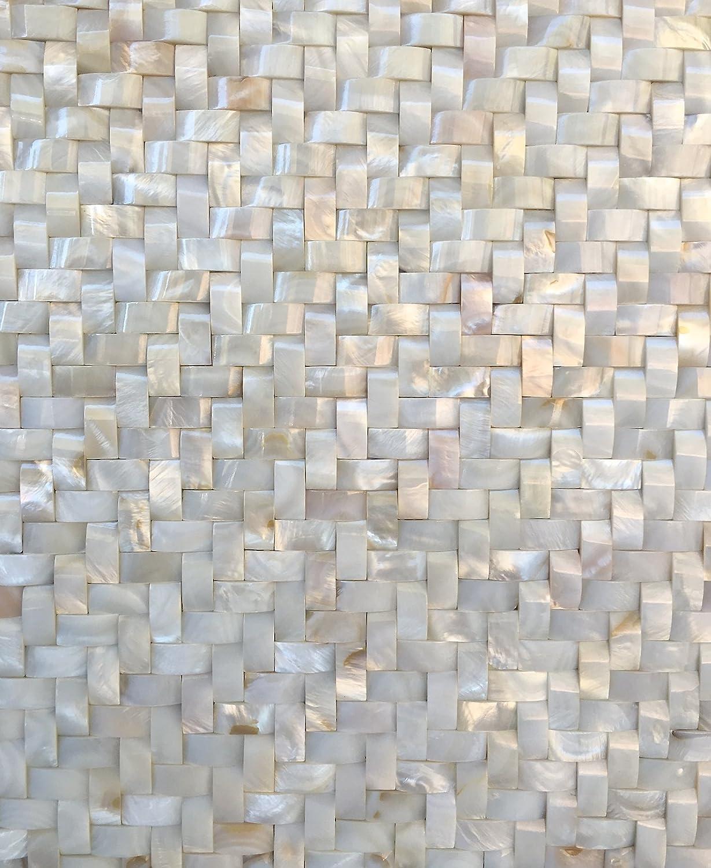 - White Mother Of Pearl Shell Mosaic Tile 3D Wavy Herringbone 12X12