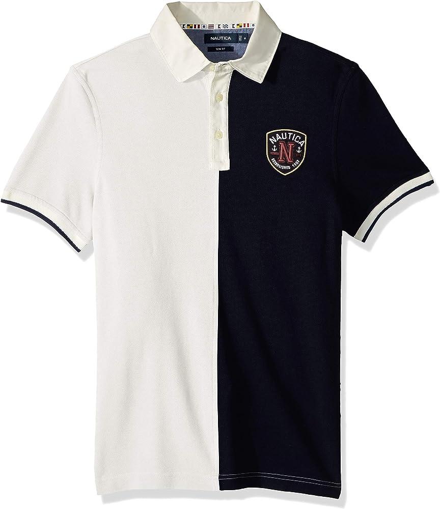 Nautica Hombre K83500 Manga Corta Camisa Polo - Blanco - Large ...