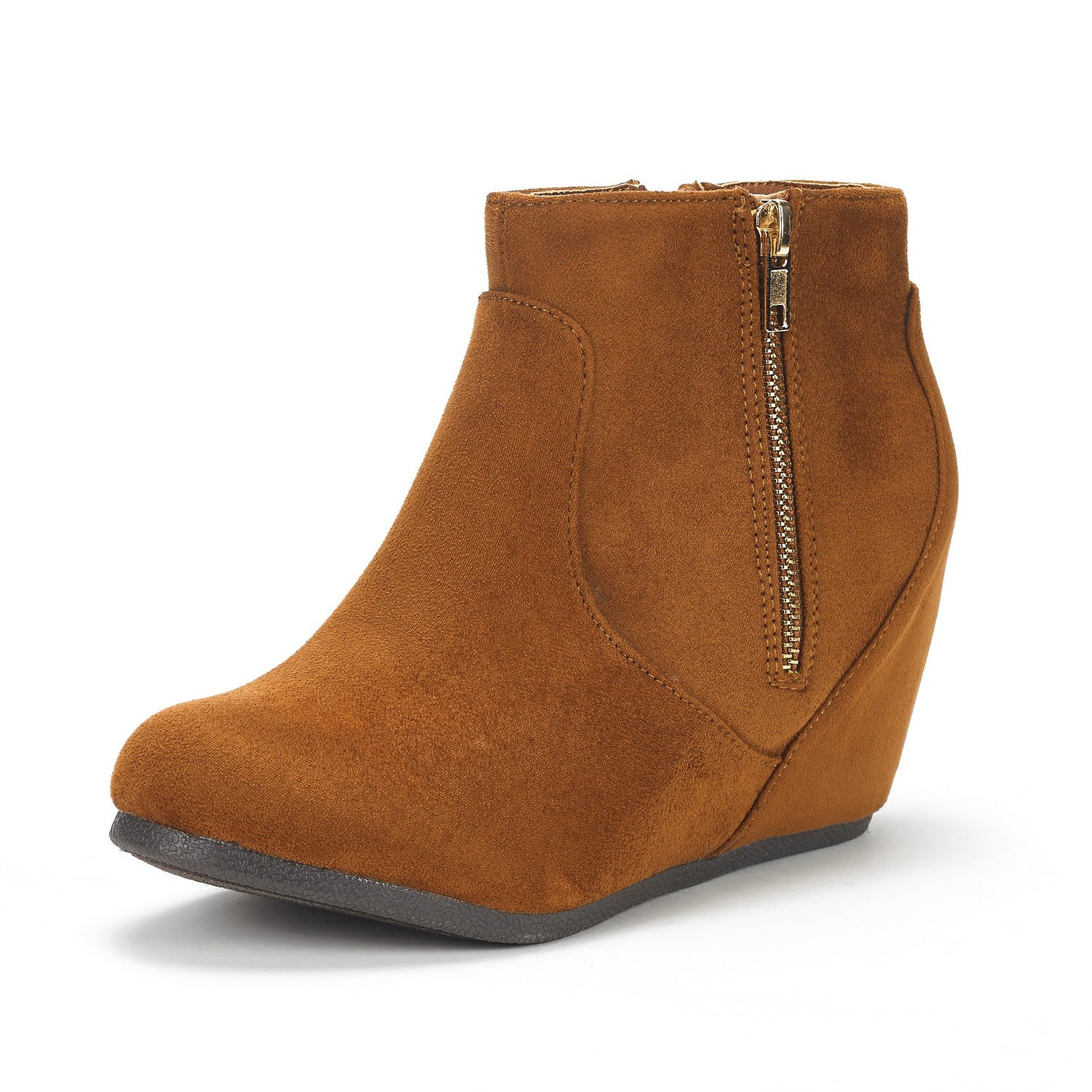 DREAM PAIRS Women's NARIE-New Tan Suede Low Wedges Ankle Boots Size 7 M US