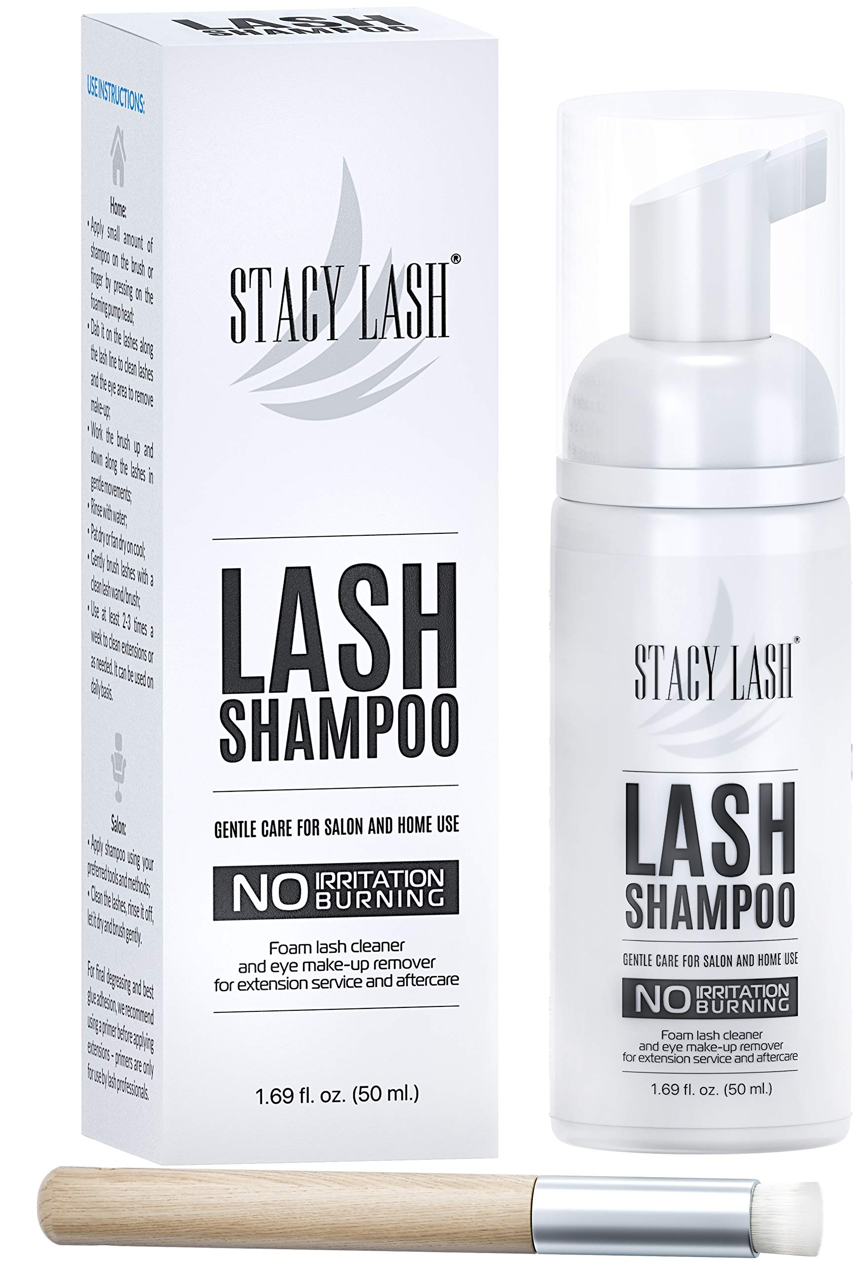 Eyelash Extension Shampoo Stacy Lash + Brush / 1.69 fl.oz / 50ml / Eyelid Foaming Cleanser / Wash for Extensions and Natural Lashes / Paraben & Sulfate Free Safe Makeup & Mascara Remover / Professional & Self Use