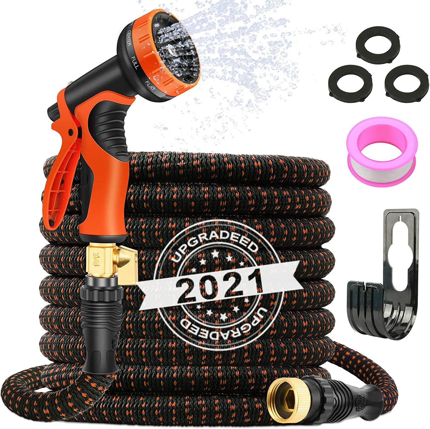 AXUAN Expandable Garden Hose 50ft - Expanding Flexible Water Hose with 10 Function Spray Nozzle, Leakproof Durable 3750D Fabric Lightweight No Kink 3/4