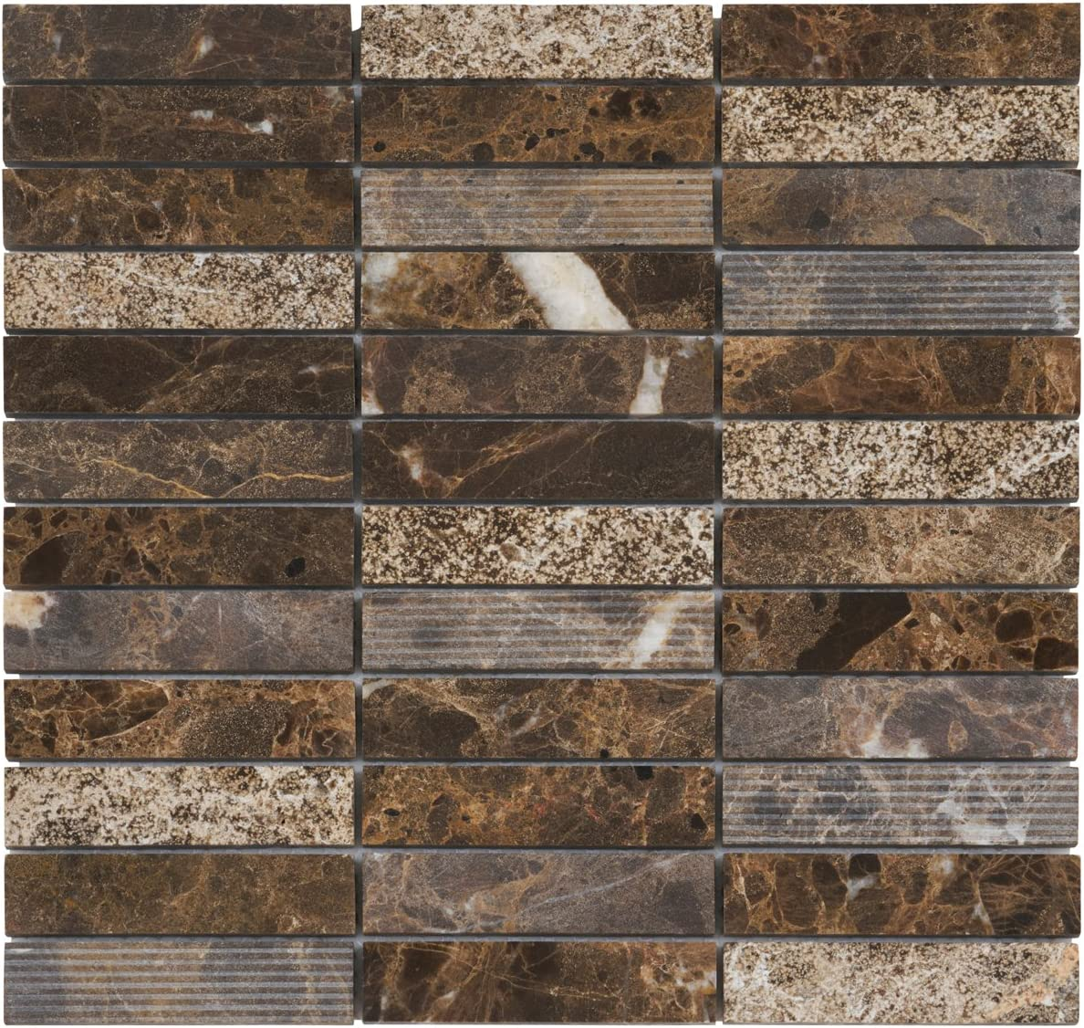 - Modket TDH57MO Emperador Dark Brown Marble Stone Mosaic Tile