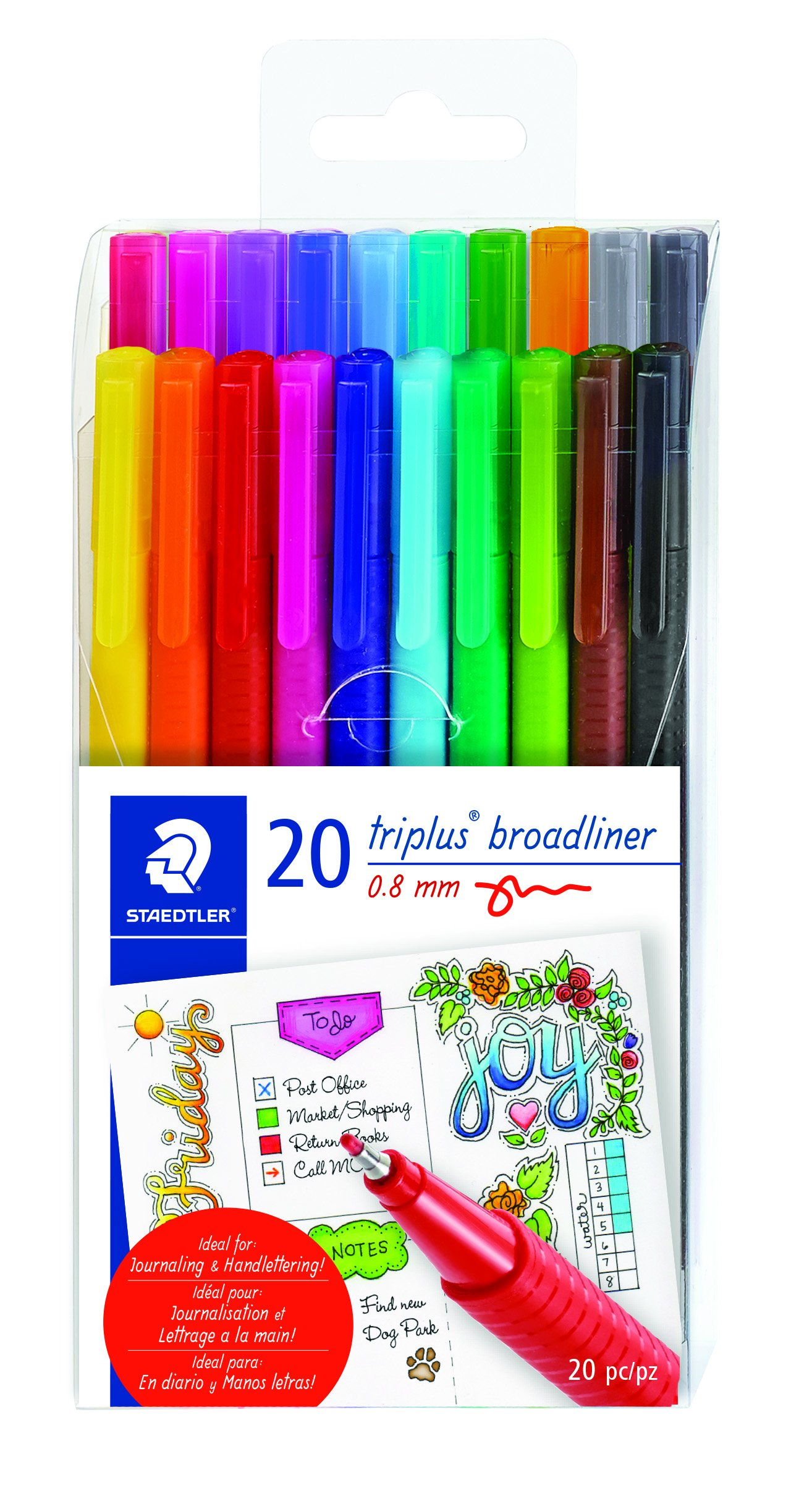 STAEDTLER triangular broad liner, triplus broadliner, 0.8mm metal-clad tip, journaling and hand lettering pen, set of 20 assorted colors, 338 TB20A6