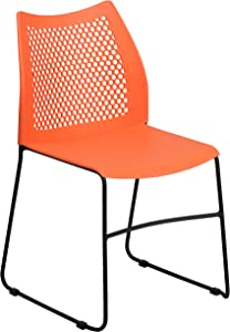 Flash Furniture HERCULES Series 661 lb. Capacity Orange Sled Base Stack Chair with Air-Vent Back