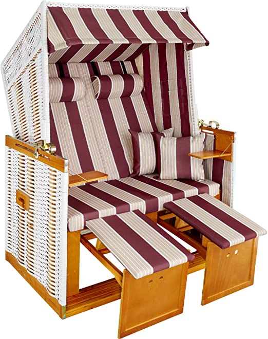 TecTake Tumbona Playa Hamaca Jardín XXL Banco doble con toldo + funda + 4 cojines - disponible en diferentes colores - (Rojo-Blanco | No. 400842): Amazon.es: Jardín