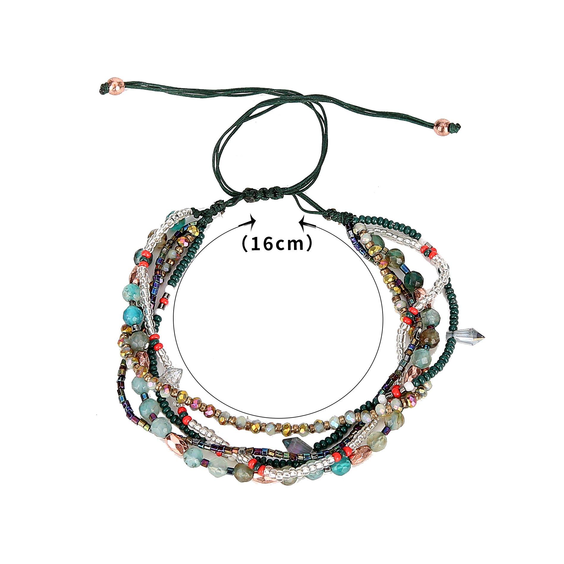 Joya Gift Adjustable Wrap Bracelet Bohemian Braided Beads Summer Beach Anklet for Women Girls by Joya Gift (Image #6)