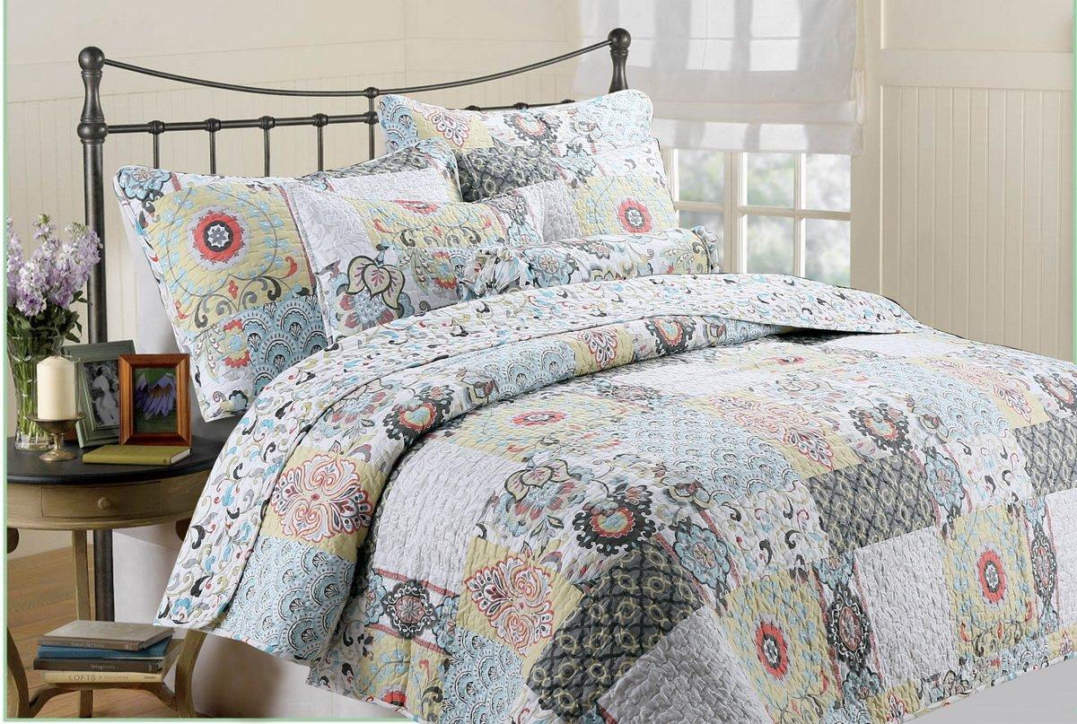 [Spring is coming] Hypoallergenic 3 piece quarter Quilt Set Bedroom Quilt Bedding Full/Queen Size