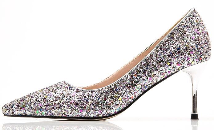 Hochzeit Pumps für Damen Spitze Zehen Bling Pailletten Stiletto von BIGTREE Kleid Pumps Mehrfarbig 34 EU HDSs8