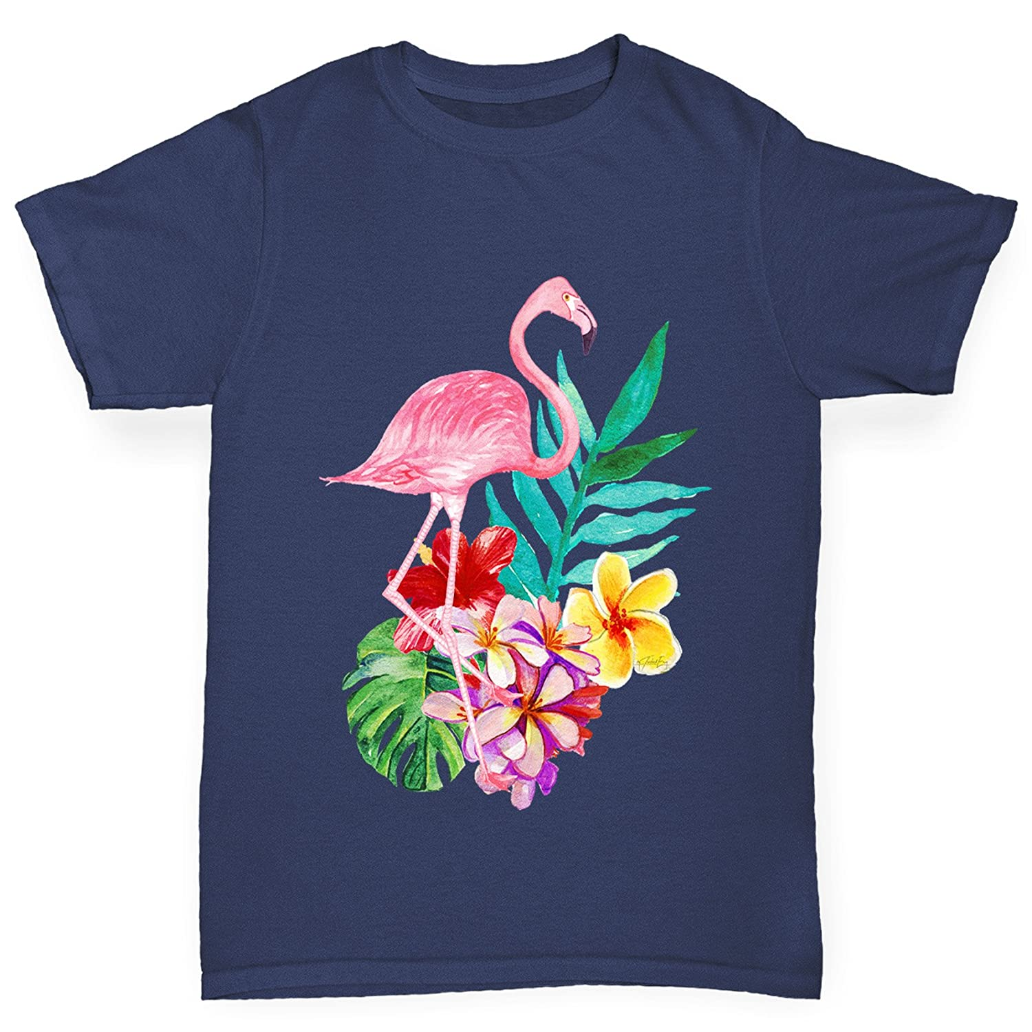 TWISTED ENVY Watercolour Flamingo Flowers Girl's Funny Cotton T-Shirt,  Comfortable and Soft Classic Tee with Unique Design: Amazon.co.uk: Clothing