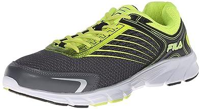 Fila Men's Memory Maranello 2 Running Shoe, Castlerock/Safety Yellow/Metallic  Silver,