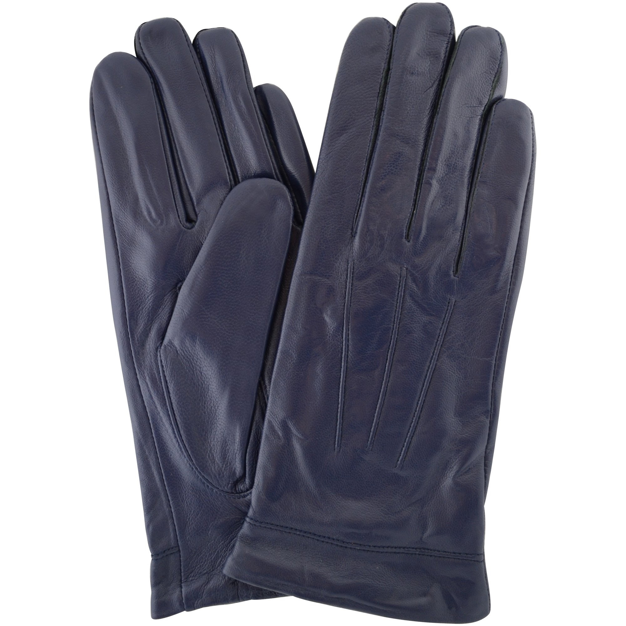 Ladies Butter Soft Leather Glove with 3 Point Woven Stitch design - Blue - Large (7.5'')