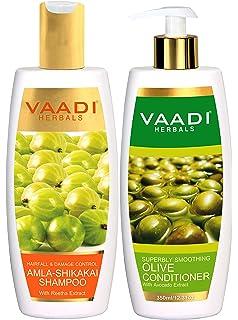 Vaadi Herbals Amla Shikakai Champú para control de caída y daño de cabello, 350 ml con acondicionador de…