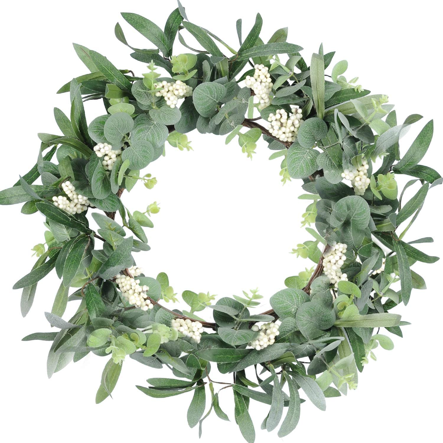 Der Rose Artificial Eucalyptus Wreath Spring Summer Wreath for Front Door Wall Window Fireplace Farmhouse Decor