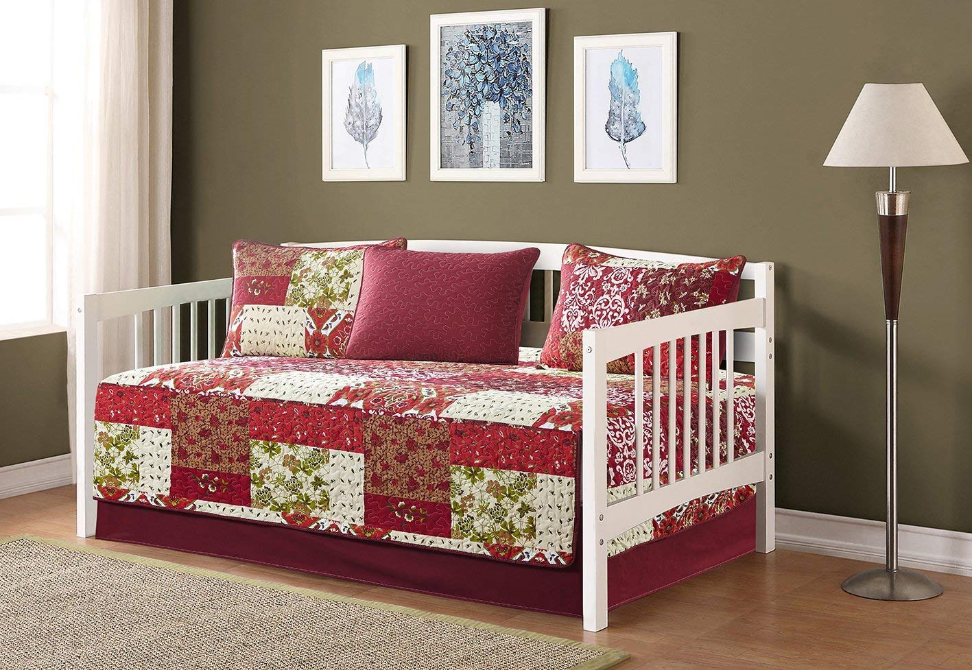 Linen Plus 5pc Daybed Cover Set Reversible Quilted Bedspread Floral Patchwork Burgundy Red Beige Green New