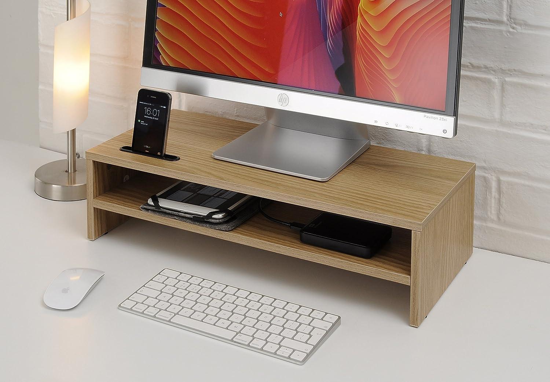 TTAP Roble Claro Dos Estante para Laptop/TV del Soporte del Escritorio/Monitor de la PC Vertical de E/Organizador de Escritorio con Soporte para teléfono ...
