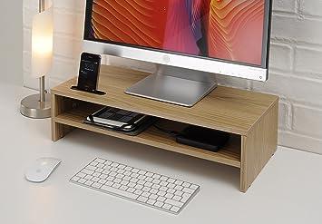 Ttap chêne clair à deux tablettes pour ordinateur portable support