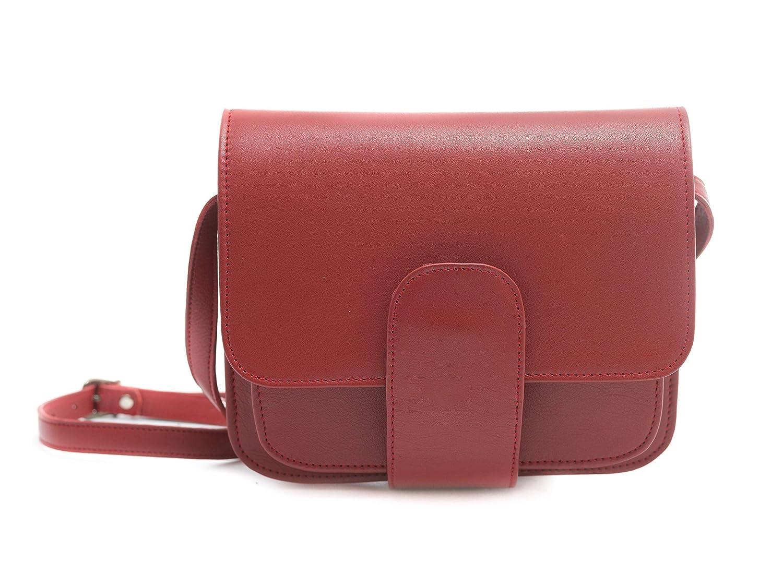 Bolso bandolera mujer marca española Ginok - De piel elegante, calidad premium - Hecho a mano 100% en España - Diseño original Ginok - Rojo, Verde, Beige – modelo Laura: Amazon.es: Handmade