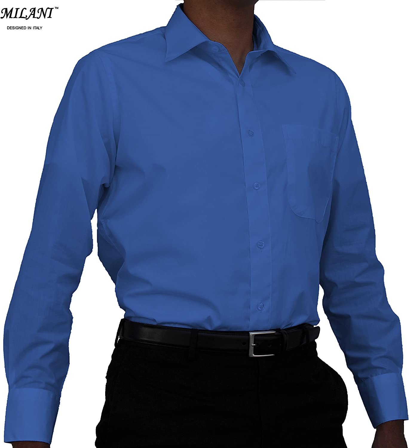 Milani Mens Dress Shirt with Standard Cuffs 16.5 Neck 34//35 Sleeve in Royal Blue