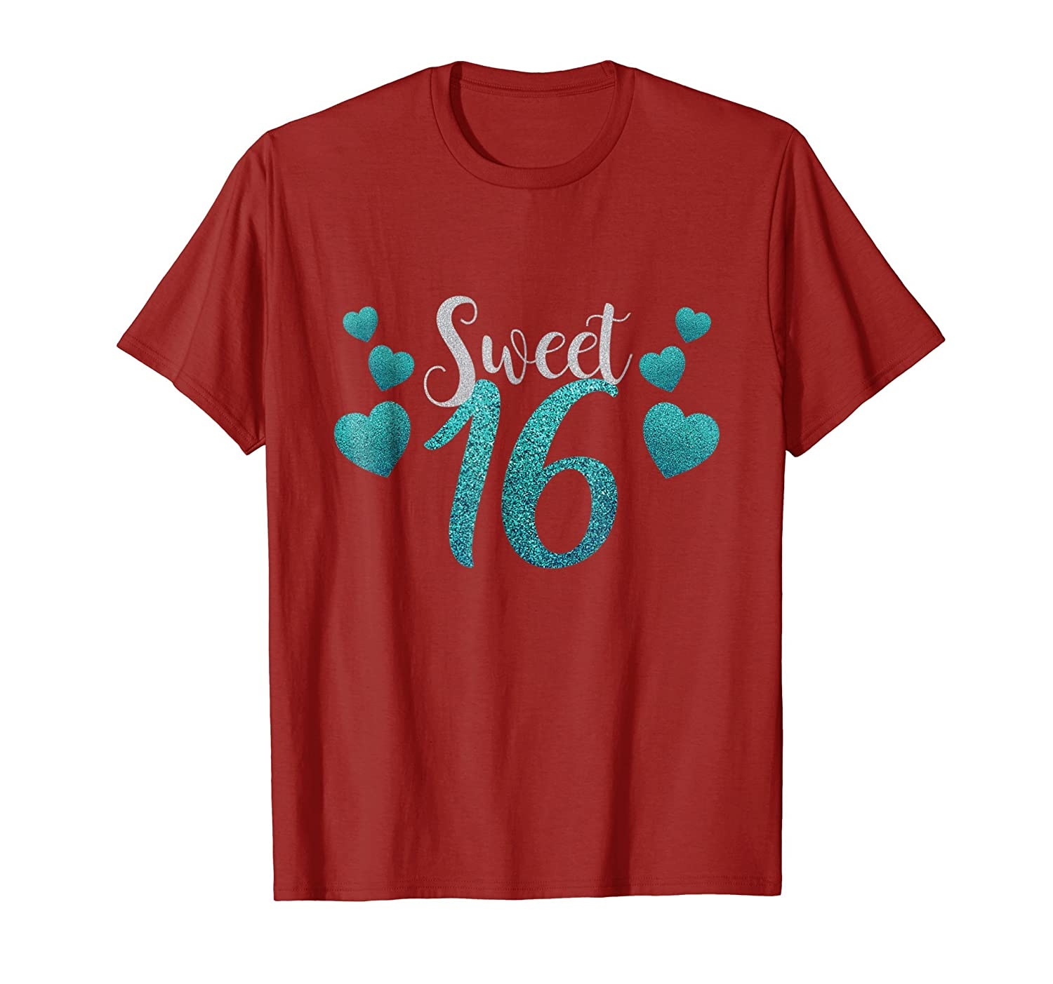Sweet 16 T Shirt With Blue Hearts Clothing-Teehay