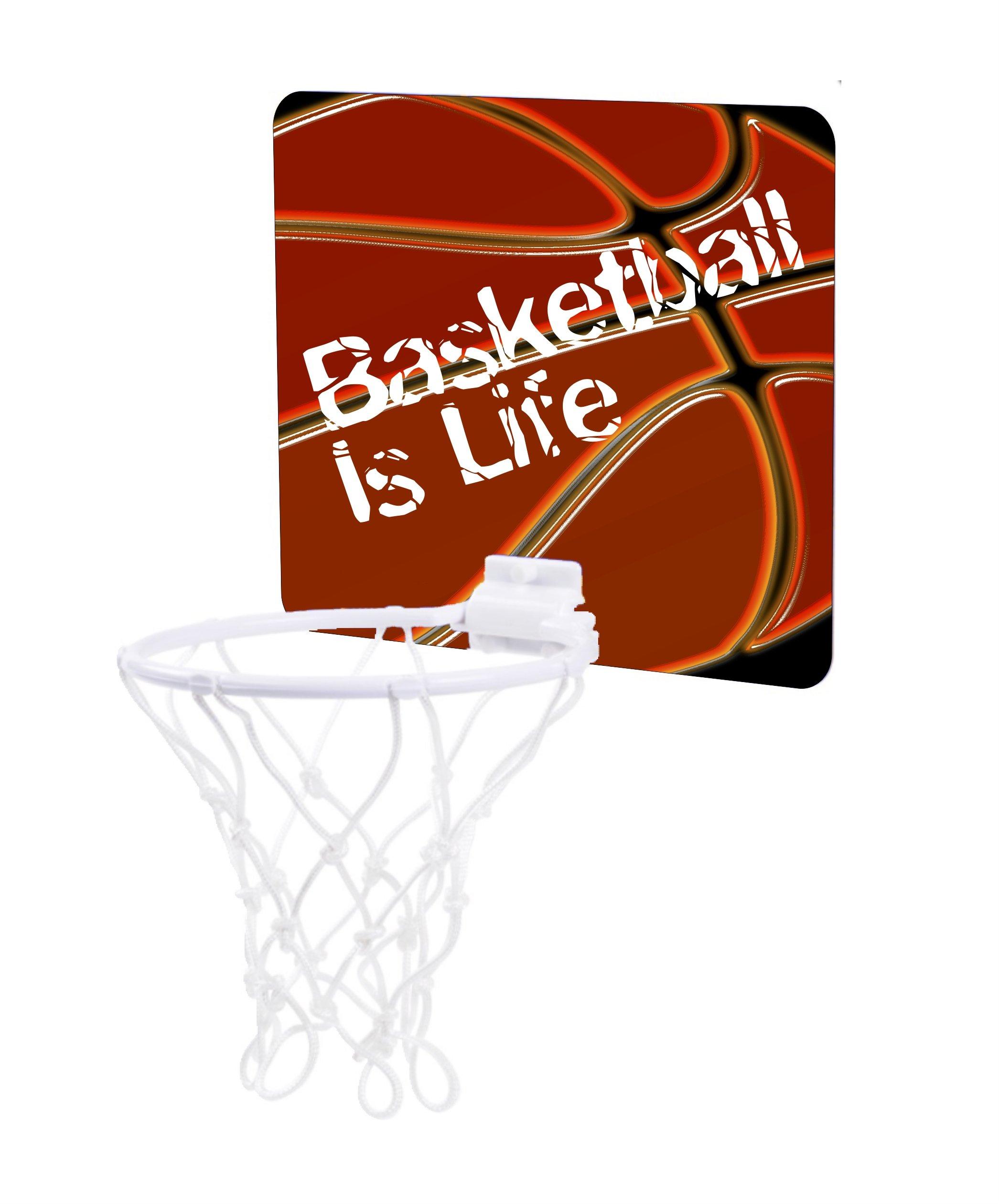 Jacks Outlet Basketball is Life - Childrens 7.5'' x 9'' Mini Basketball Backboard - Goal with 6'' Hoop