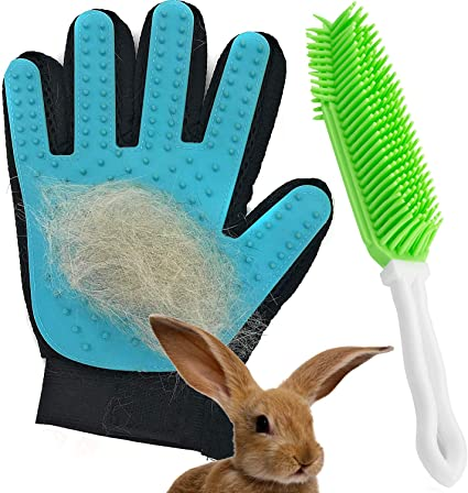 Bunnies Reduces Shedding Guinea Pigs Safe for Cats and Other Small Animals Includes Pet Hair Glove and Pet Hair Removal Brush Dasksha Pet Grooming Set
