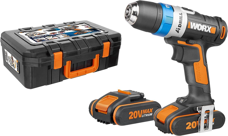 Worx WX178.1 Taladro Atornillador, 20 V, Negro, 2 Akkus