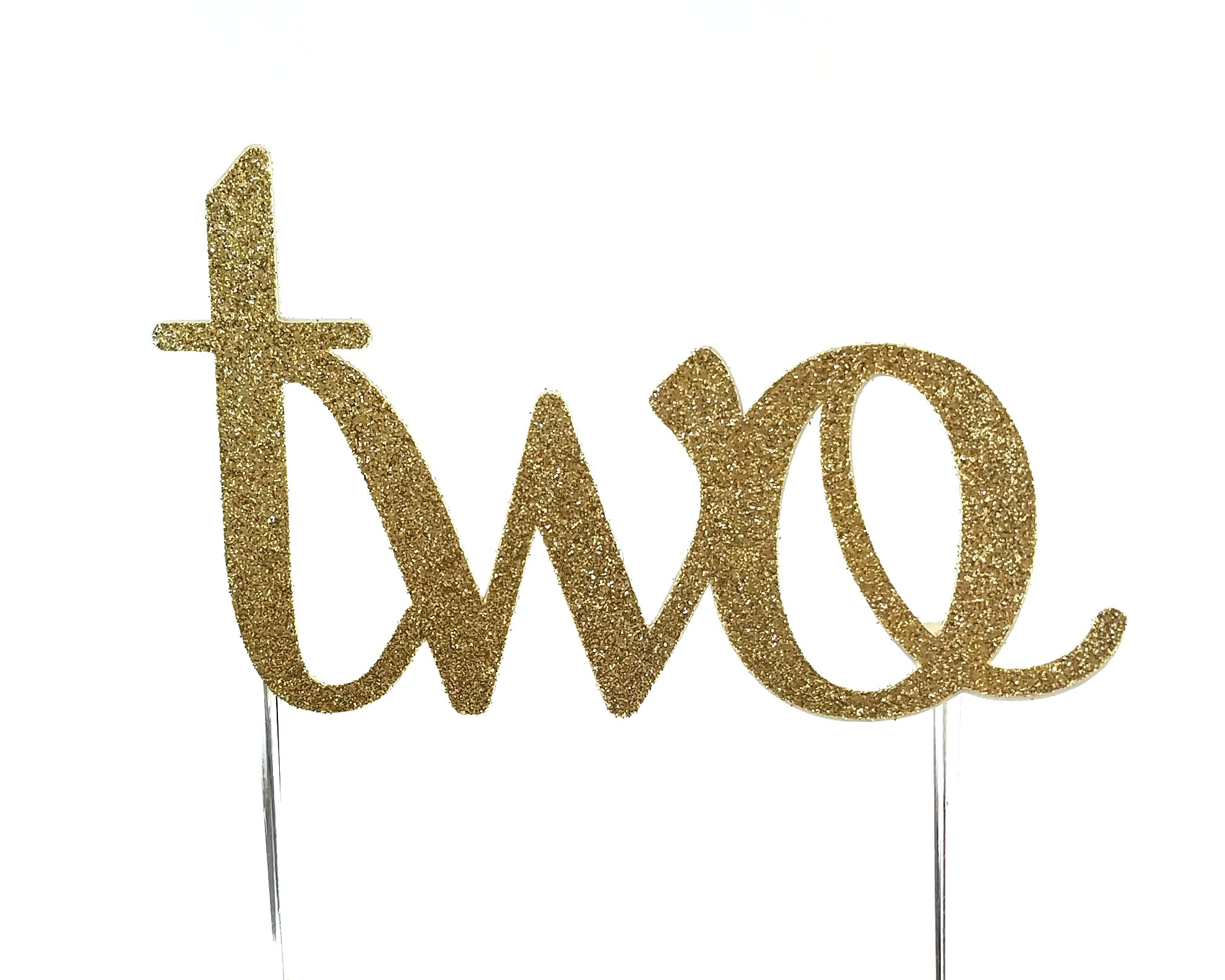 Handmade 2nd Second Birthday Cake Topper Decoration - two - Made in USA with Double Sided Gold Glitter Stock
