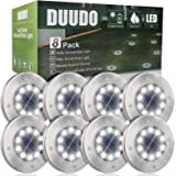 DUUDO Solar Ground Light, Upgraded 10 LED Garden Pathway Outdoor Waterproof Solar Garden Lights, Disk Lights (Cold White…