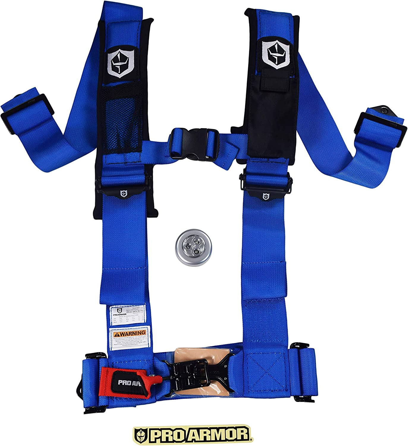 Voodoo Blue Pro Armor A114230 4 Point 3 Universal UTV Off-Road Harness with Sewn in Pads Phone Pouch Light