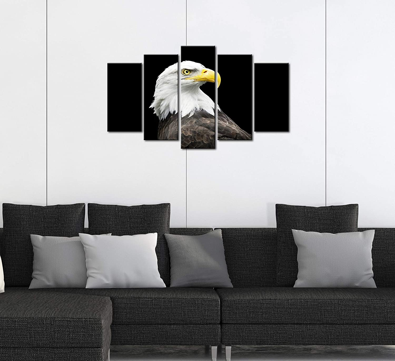 Natural art Eagle Canvas Paintings Animal Wall Art with Wooden Frame for Wall Decoration 4 Panels