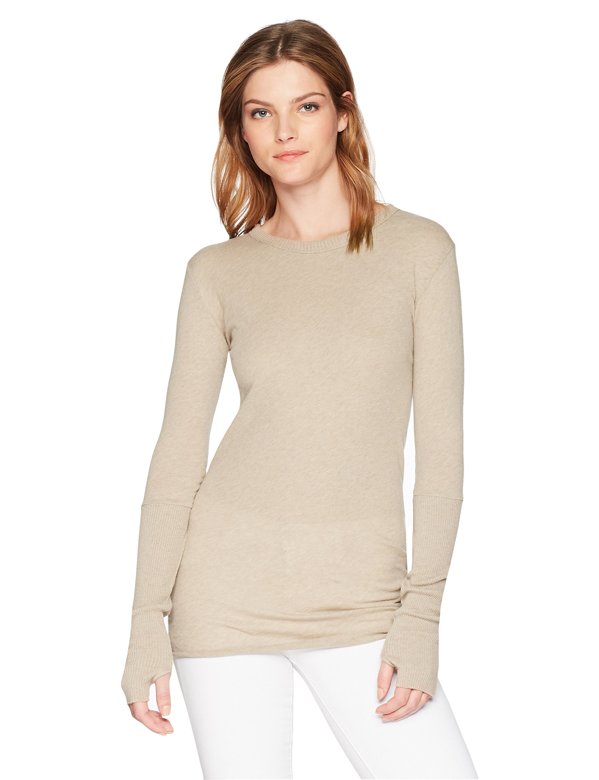 Enza Costa Women's Cashmere Long Sleeve Cuffed Crew Top With Thumbhole, Khaki, L