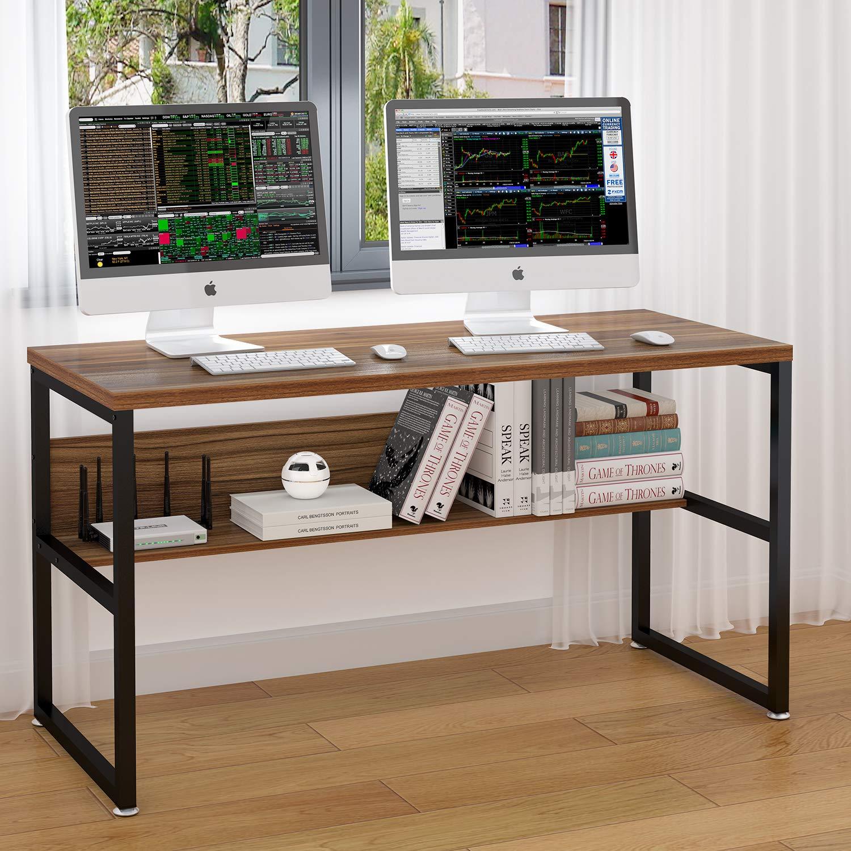 ELEGANT 55'' Computer Desk with Bookshelf/Metal Desk(Oak Brown+Black Frame)