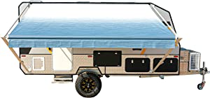 ALEKO Manual Retractable RV Trailer Awning for Home or Camper- 12x8 Ft - Blue Fade