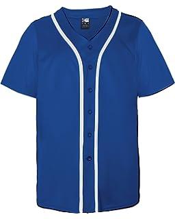 590e9feeb44 Amazon.com   Baseball Full Button Custom or Blank Wicking Jersey (8 ...