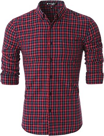 uxcell Mens Red Plaid Point Collar Chest Pocket Long Sleeve Button Down Shirt