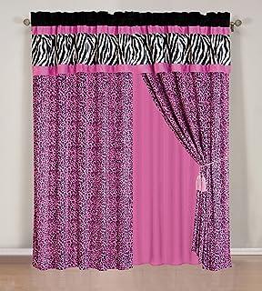 Amazon.com: 4 Pieces Faux Silk Hot Pink with Black Zebra Window ...