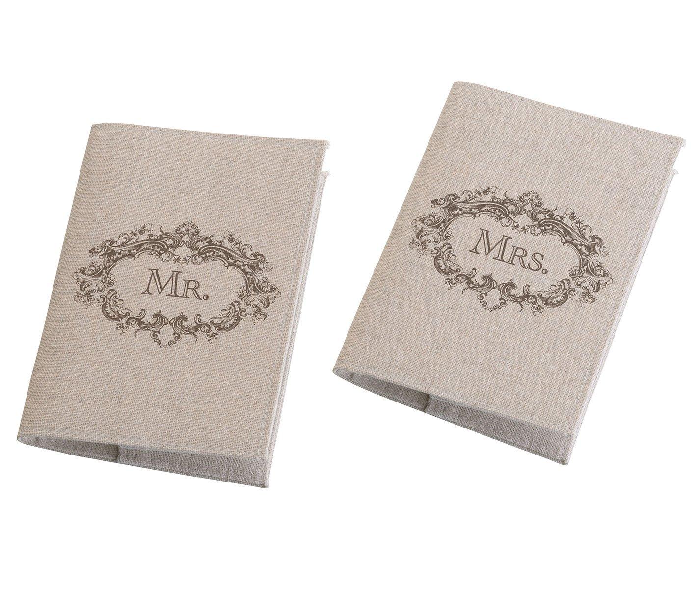 Passport Covers Lillian Rose Mr and Mrs 8 x 5.75 Tan