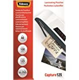 Fellowes  5307201 - Pack de 100 Pochettes de plastification brillantes Capture 125 microns A6   - Transparent
